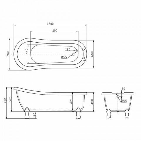 Baño de diseño moderno independiente en acrílico blanco amanecer 1700x750mm