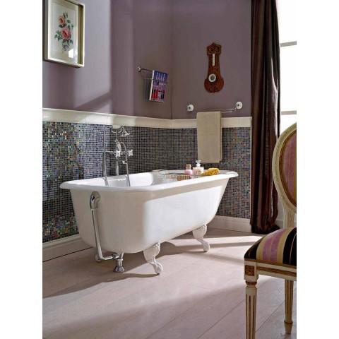 Bañera vintage de diseño independiente en hierro fundido blanco, hecho en Italia - Marwa