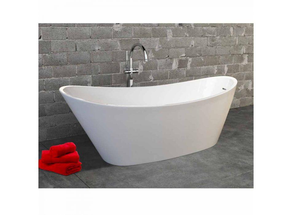 baño independiente en acrílico moderno diseño blanco Nataly, 1700x745mm