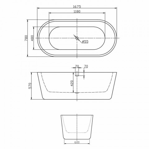 bañera independiente moderna en acrílico blanco 1675x780mm Nicole2 Pequeño