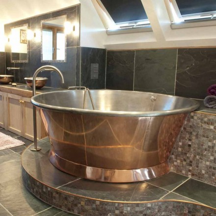 Bañera redonda autoportante cobre, hierro plateado Vanessa White