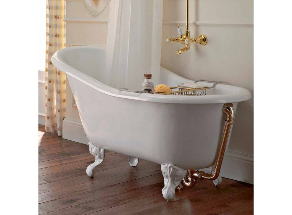 Bañera independiente vintage en hierro fundido blanco hecho en Italia - Paulina