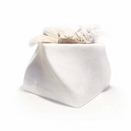 Jarrón de diseño decorativo en mármol Bardiglio o Carrara Made in Italy - Prisma