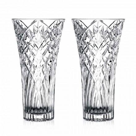 Jarrón de Diseño Vintage en Cristal Ecológico Transparente 2 Piezas - Cantabile