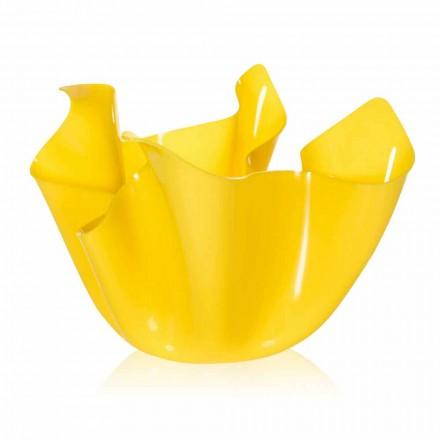 Jarrón amarillo para interior / exterior drapeado Pina, hecho en Italia