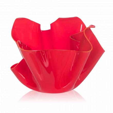 Jarrón rojo para interior / exterior drapeado Pina, hecho en Italia