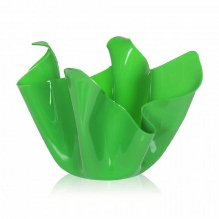 Jarrón verde para interior / exterior drapeado Pina, hecho en Italia