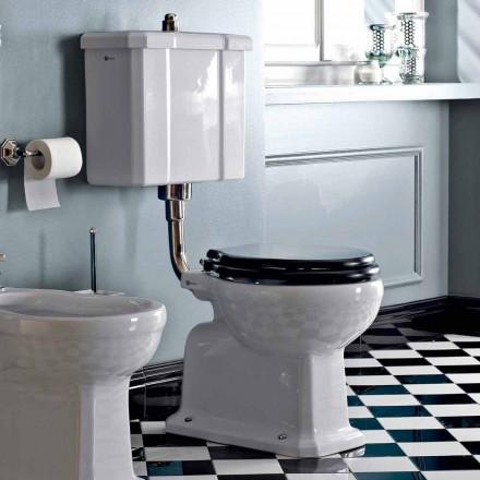 WC montado en el piso con casete de cerámica y asiento negro Made in Italy - Marwa