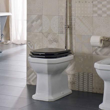 Florero de piso de cerámica blanca con asiento negro Hecho en Italia - Nausica