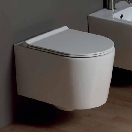 Inodoro suspendido de cerámica de diseño moderno Shine Square, hecho en Italia