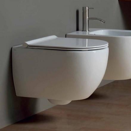 Inodoro suspendido de pared de cerámica de diseño moderno Star 50x35 hecho en Italia