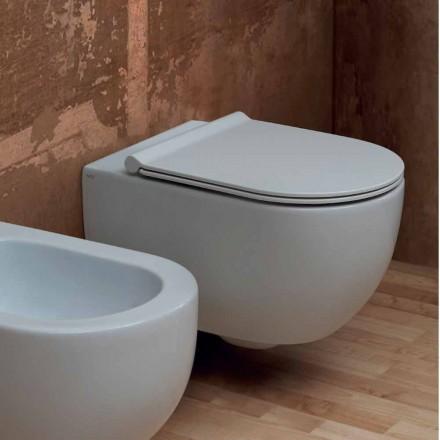 Inodoro suspendido de pared de cerámica de diseño moderno Star 55x35 hecho en Italia