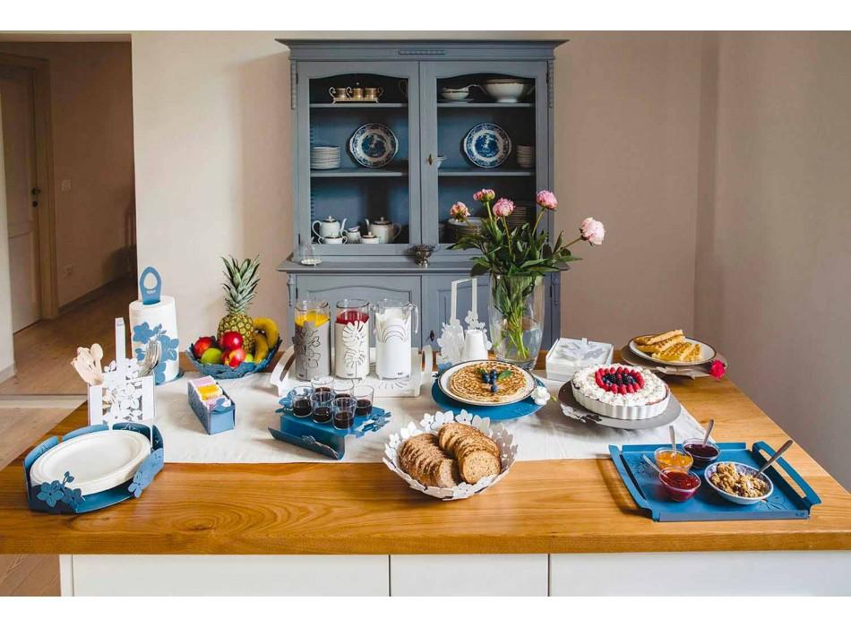 Bandeja de café moderna con flores en hierro azul, blanco o barro - Marken