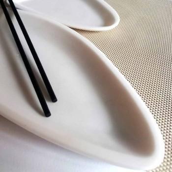 Bandeja de cocina en mármol blanco de Carrara hecha a mano en Italia - Pescado
