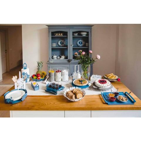 Bandeja de servicio con flores en hierro blanco, azul o barro - Marken