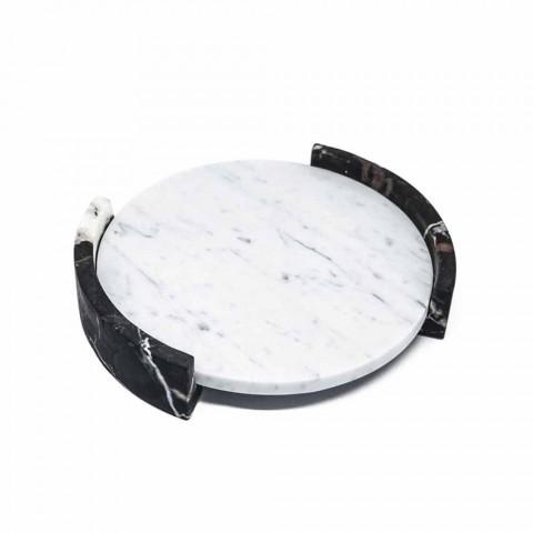 Bandeja redonda moderna en mármol blanco de Carrara hecho en Italia - Chet