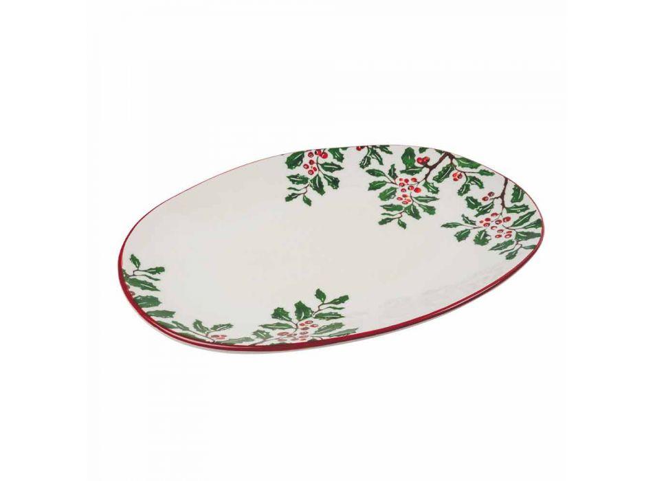 Bandeja de Navidad Ovalada Plato de servir de porcelana 2 Piezas - Escoba de carnicero