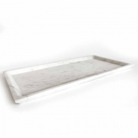 Bandeja rectangular en mármol de Carrara blanco pulido Made in Italy - Alga