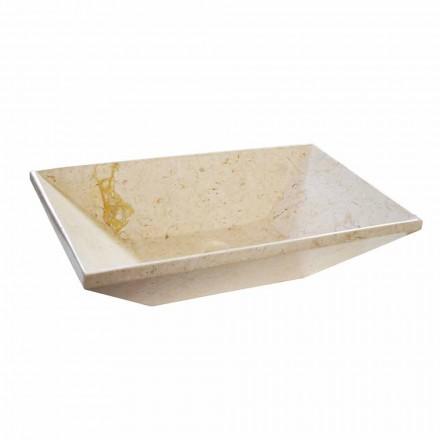 Lavabo de encimera de wok en mármol de diseño, forma trapezoidal
